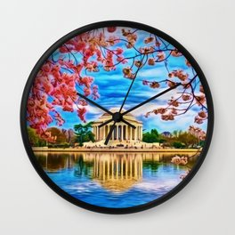Spring Japanese Cherry Blossoms at the Jefferson Memorial Landscape by Jeanpaul Ferro Wall Clock