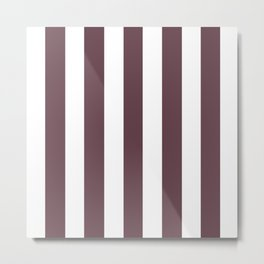 Deep Tuscan red purple - solid color - white vertical lines pattern Metal Print