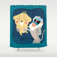 stephen king Shower Curtains featuring King by Maria Jose Da Luz
