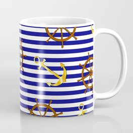 Nautical pattern with gold anchor, ship steering wheel Coffee Mug