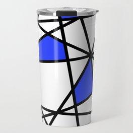 Geometric Modern triangles - white blue Travel Mug