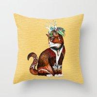 wizard Throw Pillows featuring Wizard Cat by Sandra Dieckmann