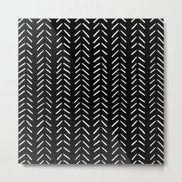 Minimalist Hand Drawn Herringbone Pattern (white/black) Metal Print
