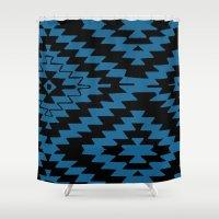 kilim Shower Curtains featuring Blue Black Kilim Rug by suzyoconnor
