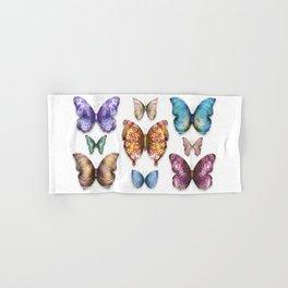 Butterfly Taxidermy 9 // Beautiful Mandala Detailed Wings Design // Orange Green Brown Hand & Bath Towel