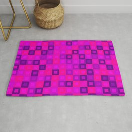 Chaotic mosaic of pink intersecting squares and violet blocks. Rug