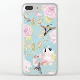 Pastel Teal Vintage Roses and Hummingbird Pattern Clear iPhone Case