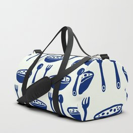 Yummy Food Bowl with Spoon & Fork Cutlery Pattern Cream & Navy Blue Duffle Bag
