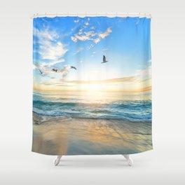 Blue Sky with Birds Shower Curtain