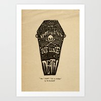 lyrics Art Prints featuring Lyrics & Type by Jon Contino