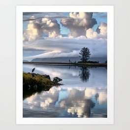 Blue Heron on Tillamook Bay Art Print