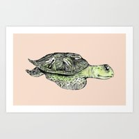 sea turtle Art Prints featuring Turtle by Tara Put