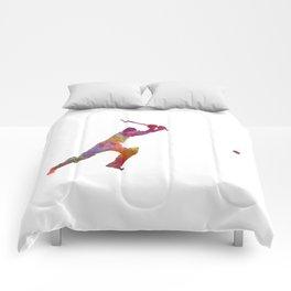 Cricket player batsman silhouette 04 Comforters