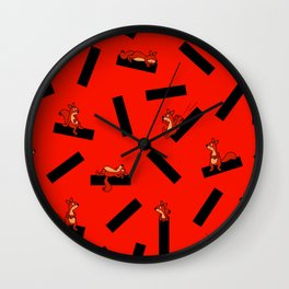 timber squirel - red - 80s abstrakt memphis milano Wall Clock