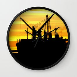 Silhouette of a Fishing Vessel Wall Clock