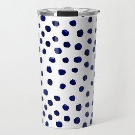 Mini dots painterly brushstrokes boho modern indigo blue and white preppy nautical dorm college art Travel Mug