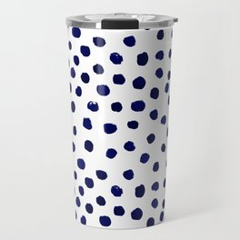 Mini dots painterly brushstrokes boho modern indigo blue and white preppy nautical dorm college art Travel Mug
