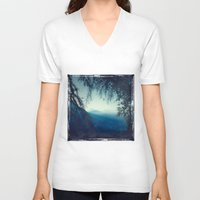 morning V-neck T-shirts featuring Blue Morning by Dirk Wuestenhagen Imagery