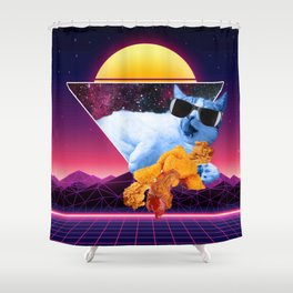 Aesthetic Synthwave Cat Fried Chicken Shower Curtain