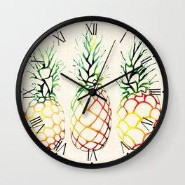 Burlap Pineapples Wall Clock