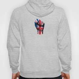 Union Jack Flag of The United Kingdom on a Raised Clenched Fist Hoody
