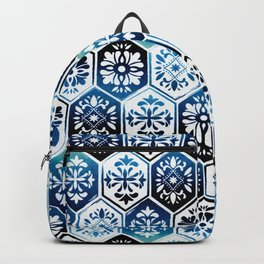 Watercolor Skull and Roses Tile Background Backpack