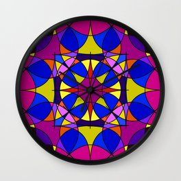 Dark winelilac  bottle stitch. Gloomy stained glass window for an old castle and a window. Wall Clock