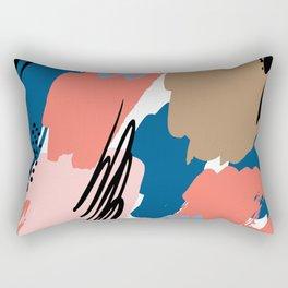 Pastel pink navy blue white abstract brushstrokes pattern Rectangular Pillow