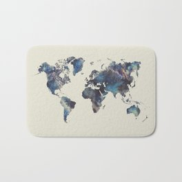 world map 124 blue  #worldmap #map Bath Mat