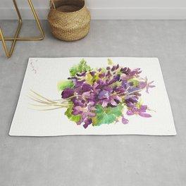 Violets, violet flowers, purple olive green floral design Rug
