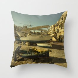 St Julian's golden boats Throw Pillow