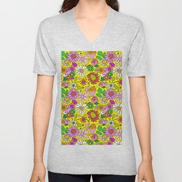 60's Lovers Floral in Sunshine Yellow Unisex V-Neck