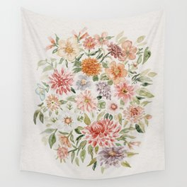 Loose Pastel Dahlia Watercolor Bouquet Wall Tapestry