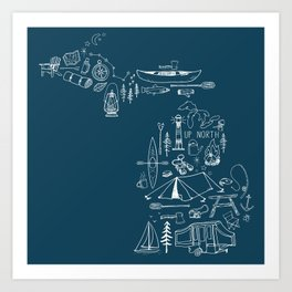 Michigan Up North Navy Collage Art Print