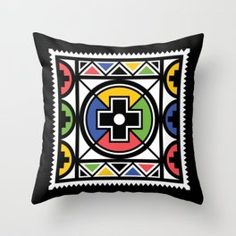 Ndebele Tribal Pattern Throw Pillow