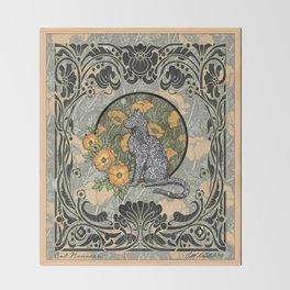 Cat Nouveau Throw Blanket