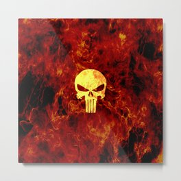 PUNISHER SKULL FLAME Metal Print