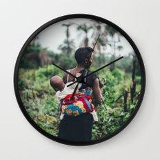 WOMAN - CHILD - FIELD - PHOTOGRAPHY - NATURE Wall Clock