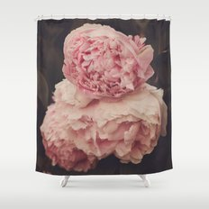 Pink Peony Trio Shower Curtain