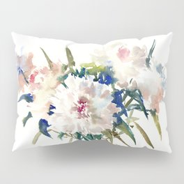 White Peonies, Asian Watercolor design Garden Peonies White lofral art Pillow Sham