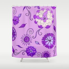 Purple Crazy Daisy pattern Shower Curtain