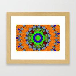 Lovely Healing Mandala  in Brilliant Colors: Orange, Royal Blue, Gray, Olive, Green, and Maroon Framed Art Print