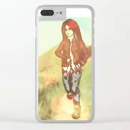 Thoughtful Stride - Girl in Color Clear iPhone Case