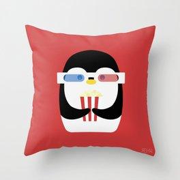 Penguin + Movie Time Throw Pillow