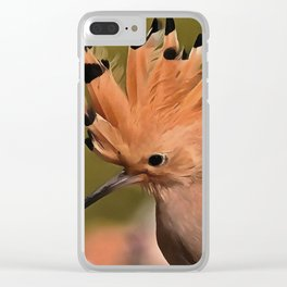 Beautiful Hoopoe Bird With Crown Of Feathers Clear iPhone Case