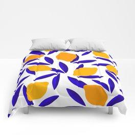 Blue and yellow Lemon Summery Pattern Comforters
