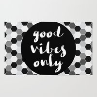 good vibes only Area & Throw Rugs featuring Good Vibes Only - Hexagon by Indulge My Heart