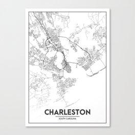 Minimal City Maps - Map Of Charleston, South Carolina, United States Canvas Print