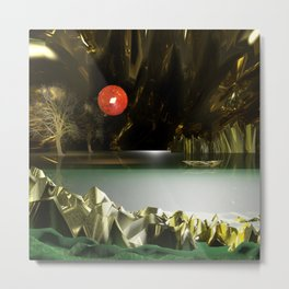 3d Modeling Cave Lake with Red Sun Metal Print