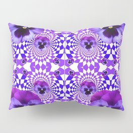 DECORATIVE OPTICAL PURPLE PANSIES GEOMETRIC ART Pillow Sham